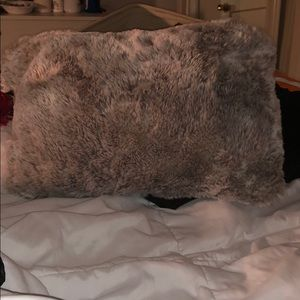 GREY FAUX FURRR PILLOW. Rectangle